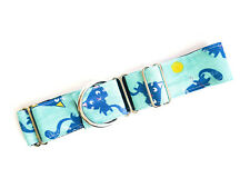 "1.5"" Martingale Dog Collar Greyhound Whippet Lurcher KITTY CAT TURQUIOSE"