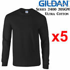 Gildan Long Sleeve T-SHIRT Black blank plain tee S-5XL Men's Ultra Cotton jumper