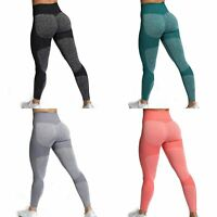 Womens High Waisted Yoga Leggings Pants Seamless Gym Exercise Running Jogging