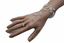 Leaf Flower Bracelet Slave Ring Wedding Women Silver Metal Fashion Hand Chain