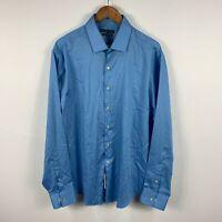 Geoffrey Beene Mens Button Up Shirt Size 2XL/17.5 Blue Long Sleeve Collared New