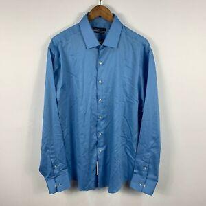 Geoffrey Beene Mens Button Up Shirt Size 2XL Blue Long Sleeve Collared 59.01