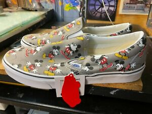 Vans Classic Slip On Disney Mickey Mouse Frost Grey Size US 11.5 Men's New Rare