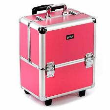 Hairdresser Beauty Beautician Makeup Trolley Wheels Vanity Case Box Pink Silver