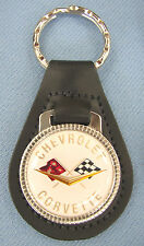 "Corvette Leather Key Fob 61 Gold "" V ""  1961 Vette Logo Key Holder Fob Ring"