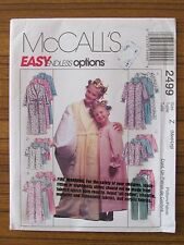 McCALL'S PATTERN - 2499 GIRLS' SLEEPWEAR GOWN PYJAMAS PANTS NIGHTIE M L UNCUT