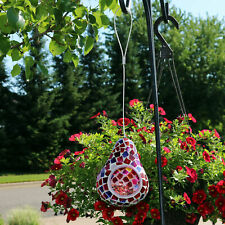 Sunnydaze Outdoor Hanging Bird Feeder Ruby Mosaic Outdoor Decorative Glass - 6""