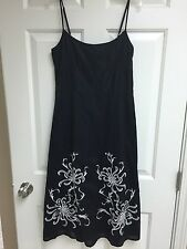 Black White Ann Taylor LOFT Embroidered Floral Spaghetti Strap Lined Dress Sz 0