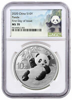 2020 China 30 g Silver Panda ¥10 Coin NGC MS70 FDI Panda Label SKU59835