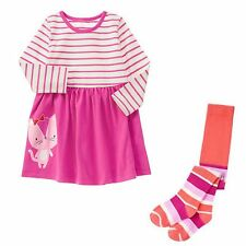 Gymboree NWT 18-24 Months Mix N Match Kitty Cat Dress Stripe Tights Outfit Set