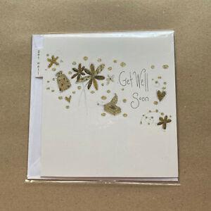 Get Well Soon Card - Gold Glitter - free 1st class p&p