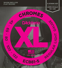D'Addario XL Chromes Flat Wound 5 String Bass. Reg. Light: .045 to .132. ECB81-5
