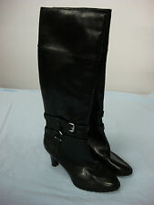 NWT Women's Chaps Long Top High Heel Zip Up Boots Black Size 7 B #69