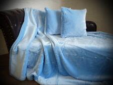 3tlg. Set Tagesdecke Kuscheldecke Glanz-Design hell blau + 2 Kissen 40x40cm