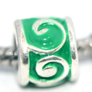 1x Silver Green  Bead Charm Spacer Fit Eupropean Chain Bracelet Make Jewelry