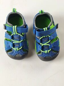 Keen Fisherman Sandals Toddler Size 4 Blue/ Green Play Outside Water River EUC