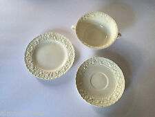 Lot of 3 Wedgwood China ROSE Cream Embossed Roses / Daisies Misc. Dinner Pieces