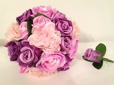 Bridal Silk Wedding Flowers, Pink, Purple Posy Bouquet And Buttonhole Set