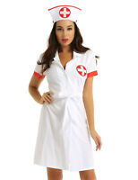 Womens Sexy Nurse Cosplay Uniform Dress Costume Hat Outfit Halloween Fancy Dress