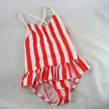 Girls 3T Red White Stripe Swimsuit Ruffled Skirt One-Piece Union Made Usa 1980s