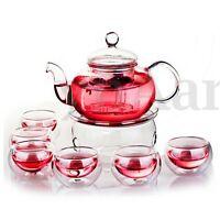 800mL Borosilicate Glass Teapot Set Infuser Teapot+Warmer+6 Double Wall Tea Cups