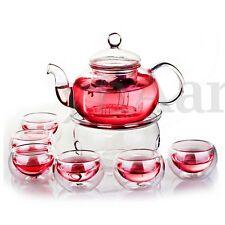 800mL théière en verre Borosilicate Set infuseur théière + chauffe-biberon + 6 t