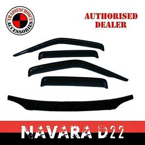 Bonnet Protector & Window Visors for Nissan Navara D22 2002-2015 Weathershields