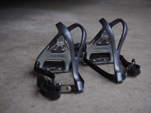 Vintage Shimano 105 Road Track Pedals - PD-1055 - With Cages And Straps - Nice