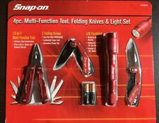 Snap-on 4 Piece Multi-Tool, Knife & Light Set, folding Knives & Flashlight ~New!