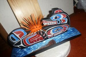 Northwest Coast First Nation Hand Carved Cedar Sea Otter-Sea UrchinWhale carving