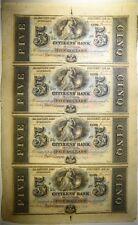 UNCUT SHEET OF 4-$5.00 NOTES, CITIZENS BANK, LOUISIANA!! Lot 427