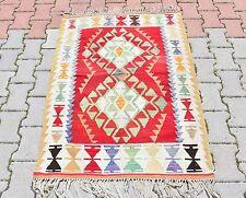 Fringed Vintage Kilim Rug Turkish Oushak Southwestern Geometric Design Kelim Rug