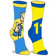 FALLOUT REVERSIBLE CREW SOCKS VAULT 111 BOY TEC MENS BLUE LOGO RIBBED THUMBS UP