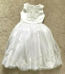 JOAN CALABRESE DRESS First Communion Flower Girl   Size 5   White Beaded Layered