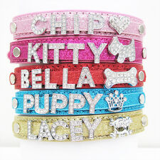Personalised Custom Dog Cat Pets Bling PU Leather Collar Name With Charms