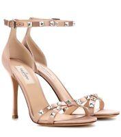 Valentino Garavani Crystal Embellished Satin Sandals Pink Heels Size 36.5 $1295