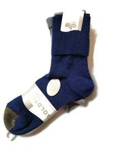 Gold Toe Women's Turn Cuff  Anklet Socks Gray Blue Bobby Socks 3 Pair Pack 6-9