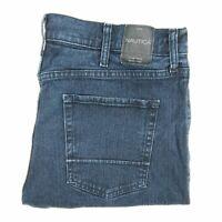 Nautica Jeans 38x30 Men's Blue Stretch Denim Straight Fit Distressed Wash A8-1