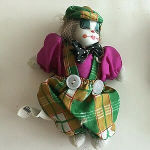 "Vintage Halloween Mini Clown Porcelain Head Cloth Body 5"" Collectibles Box 2-4"