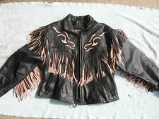 Ladies/Women's Leather Motorcycle Jacket with Pale Pink and Black Fringe