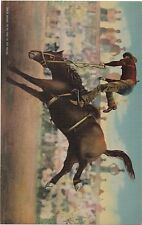 """1945 Giant Linen Rodeo Postcard """" Crazy Snake up to one of his Tricks """""""