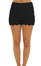 LACE Crochet Tiered Cropped Mini Shorts Stretchable Waistband Cotton S/M M/L
