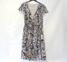 FENN WRIGHT MANSON Luxury 100% SILK Asymmetric Leaf Print Dress Lined UK 14