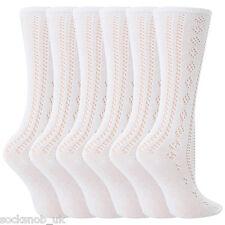 6 Pairs Girls White Fancy Pelerine Knee High Socks (2-3 years)