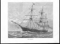 1878 - Antique Print H.M.S. CORMORANT Naval Maritime Seascape (116b)