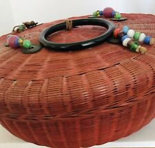 Vintage Asian Red Woven Wicker Basket Tassels Coin Glass Beads