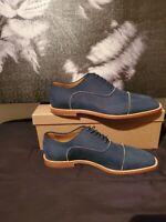 Christian Louboutin Men size 40.5 Calfskin suede blue/silver trim Nubucks Oxford