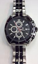 AQUA MASTER Men's Black/Silver Chronograph WATCH 24pcs DIAMOND  W#328