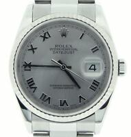 Rolex Datejust Mens Stainless Steel 18K White Gold Watch Silver Roman Dial 16234