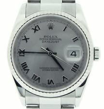 2000's Rolex Stainless Steel/18K White Gold Datejust Oyster Silver Roman 16234